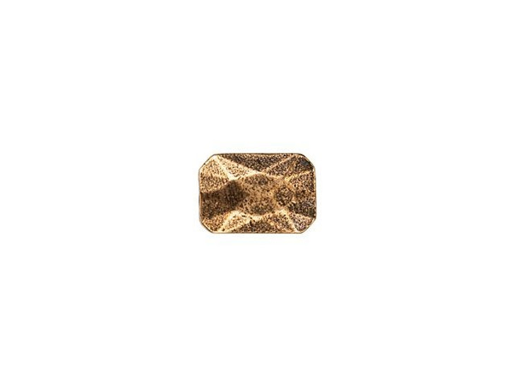 Nunn Design Antique Copper-Plated Pewter 13 x 9mm Faceted Rectangle Metal Bead
