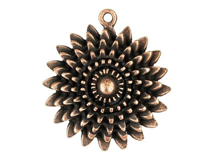 Nunn Design Antique Copper-Plated Pewter Large Daisy Pendant Charm