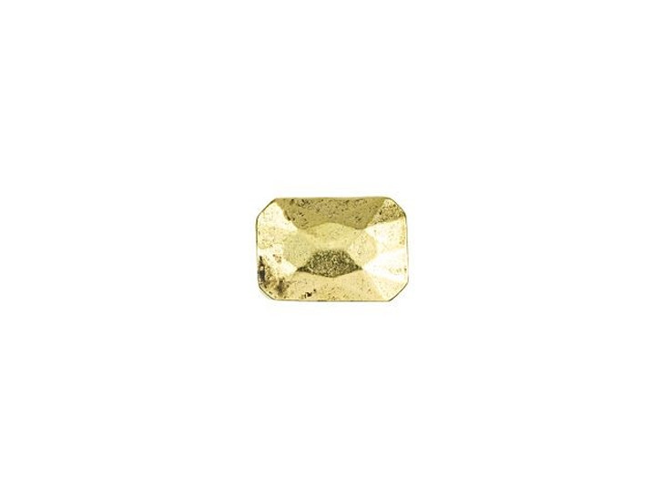 Nunn Design Antique Gold-Plated Pewter 13 x 9mm Faceted Rectangle Metal Bead