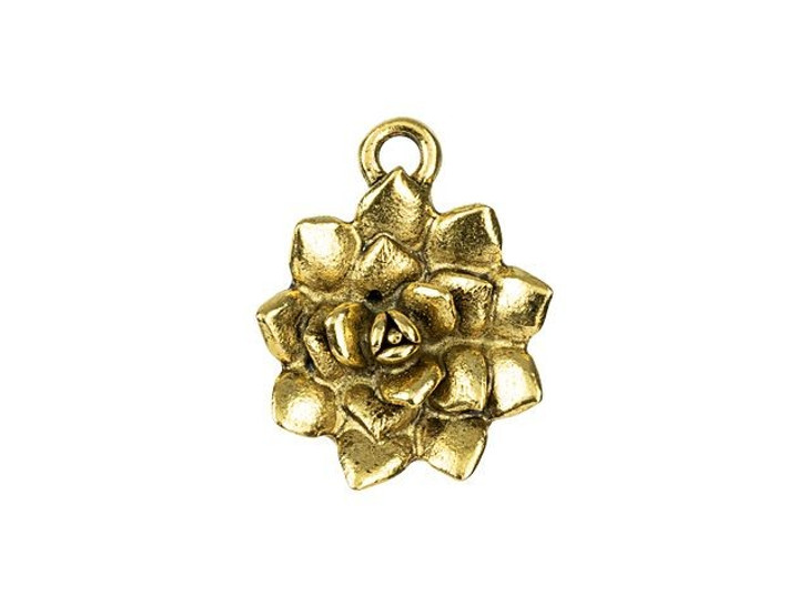 Nunn Design Antique Gold-Plated Pewter 16mm Succulent Charm
