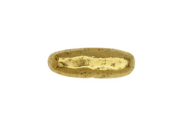 Nunn Design Antique Gold-Plated Pewter 17mm Organic Tube Horizontal Metal Bead