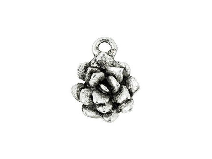 Nunn Design Antique Silver-Plated Pewter 12mm Succulent Charm