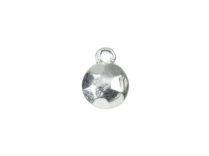 Nunn Design Silver-Plated Pewter 9mm Flat Back Faceted Circle Charm