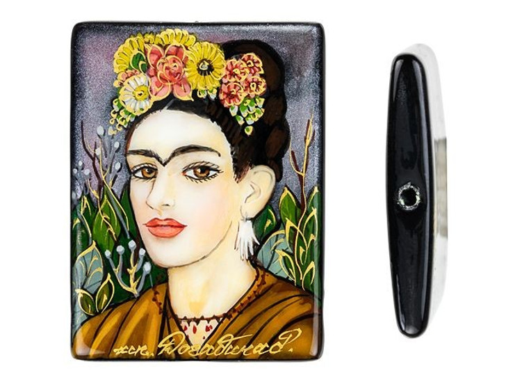 Self Portrait by Frida Kahlo 30 x 40mm Black Agate Bead
