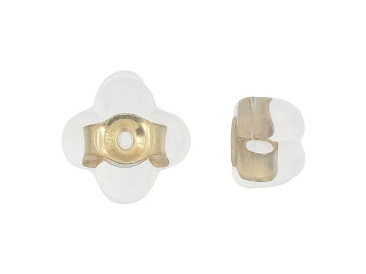 Silicone Four Leaf Clover Earring Back with Gold-Filled Center