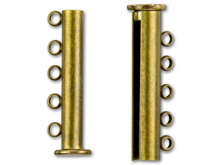 Antique Brass-Plated 30x10mm 5-Ring Magnetic Tube Clasp