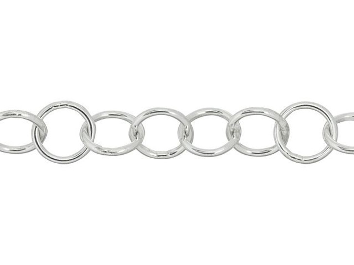 Sterling Silver 6mm Round Cable Chain By the Foot