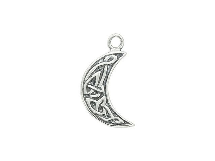 Sterling Silver Celtic Knot Moon Double-Sided Charm