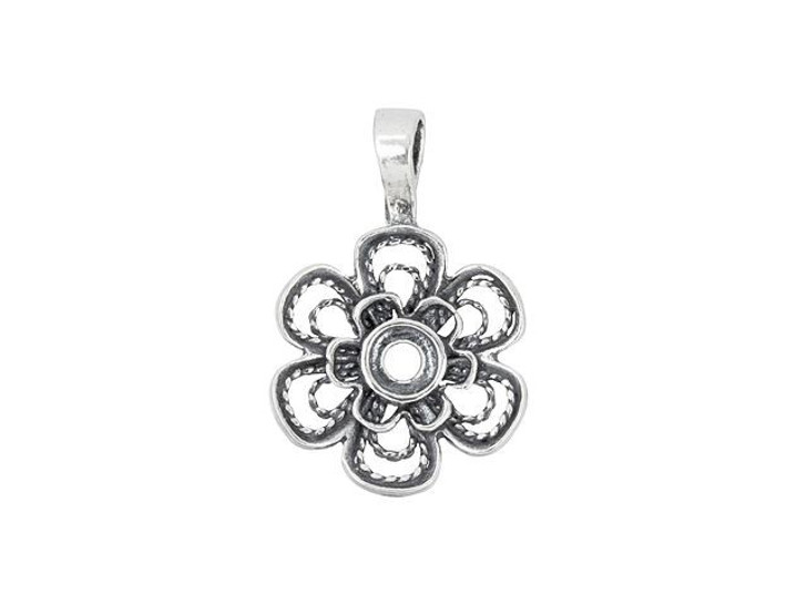 Sterling Silver Filigree Flower Pendant
