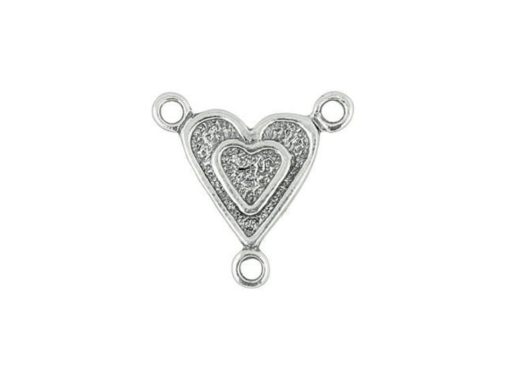 Sterling Silver Heart Center Link