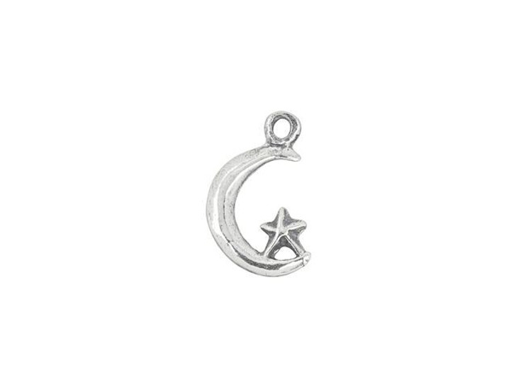 Sterling Silver Moon and Star Left-Facing Charm