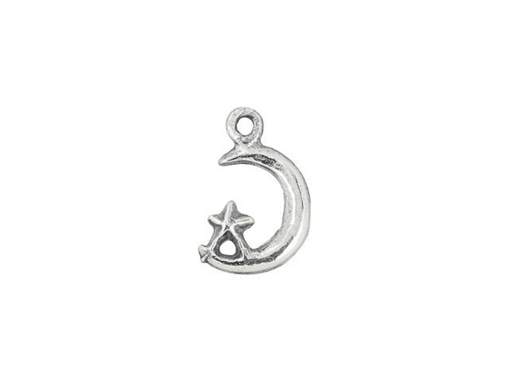 Artbeads Sterling Silver Moon and Star Right-Facing Charm