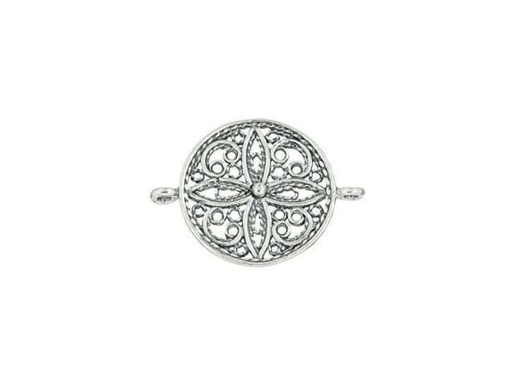 Sterling Silver Whimsical Filigree Round Link