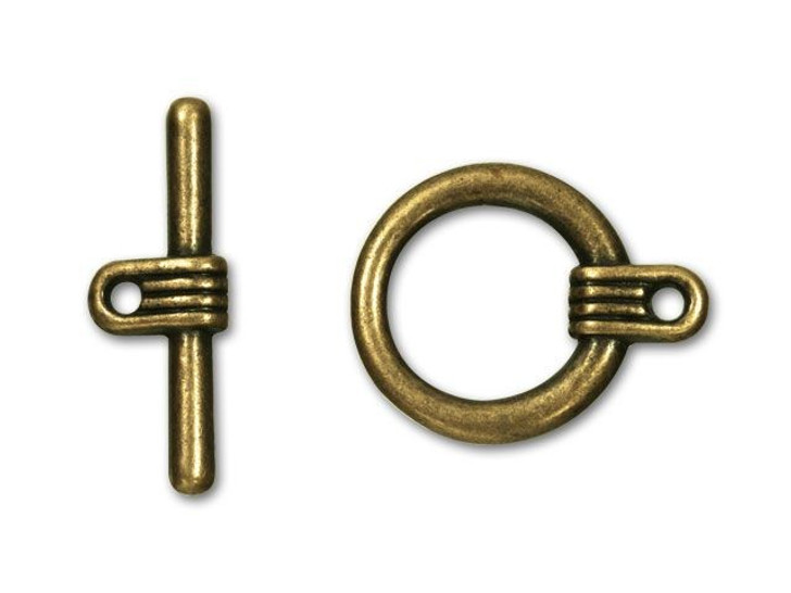 Antique Brass-Plated Futurist Toggle Clasp