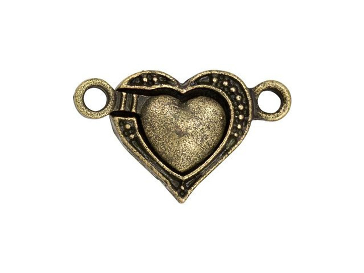 Antique Brass-Plated Magnetic Heart Clasp