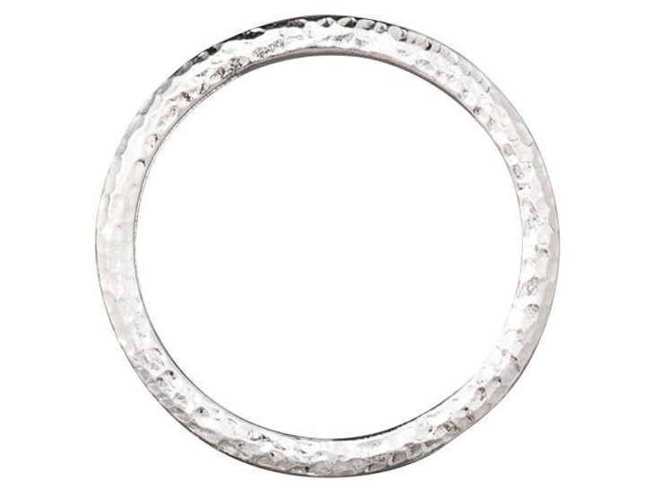 TierraCast 1.25-inch Rhodium-Plated Pewter Hammertone Ring Link