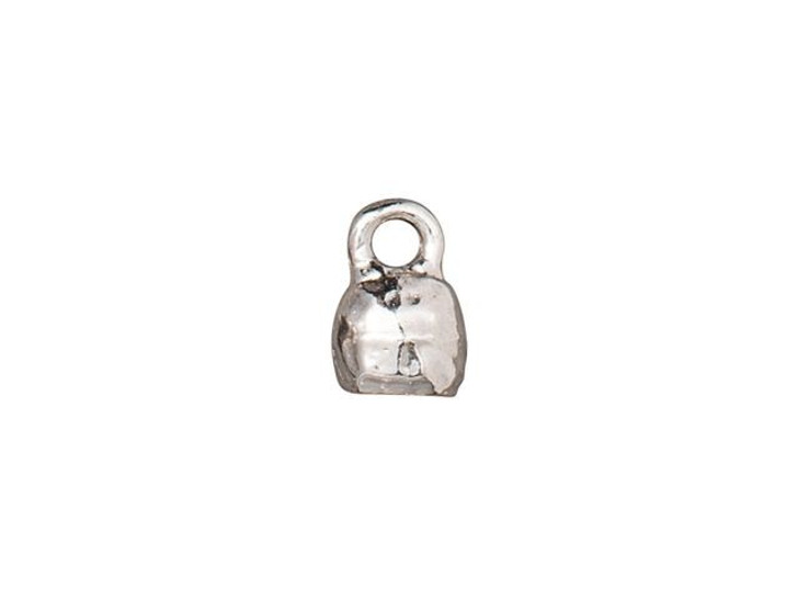 TierraCast 4 x 2mm Rhodium-Plated Pewter Distressed Crimp End Cap