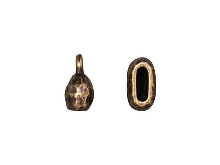 TierraCast 6 x 2mm Oxidized Brass-Plate Distressed Crimp End Cap
