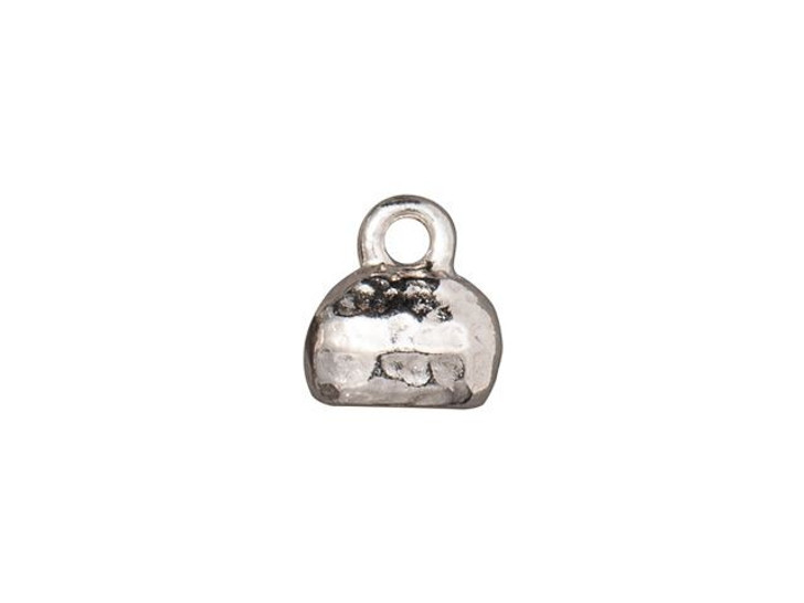 TierraCast 6 x 2mm Rhodium-Plated Pewter Distressed Crimp End Cap