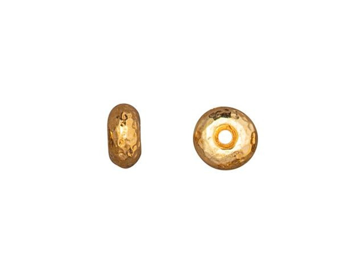 TierraCast 7mm Gold-Plated Pewter Hammertone Rondelle Bead