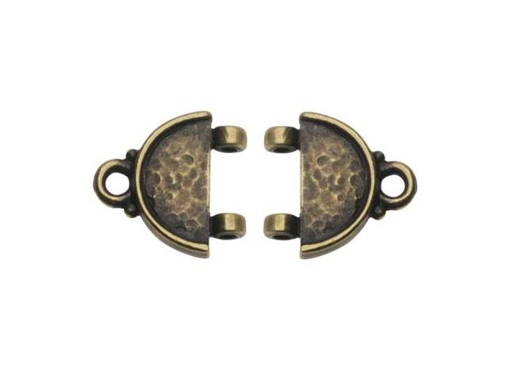TierraCast Oxidized Brass-Plate Hammertone Stitch-In Link
