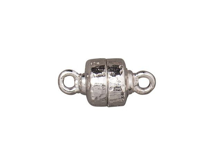 TierraCast Rhodium-Plated Pewter Hammertone Magnetic Clasp Set