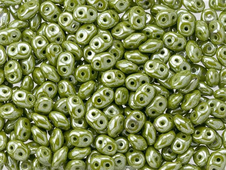 Matubo SuperDuo Opaque Olive Luster 2-Hole 2 x 5mm Seed Bead 2.5-Inch Tube