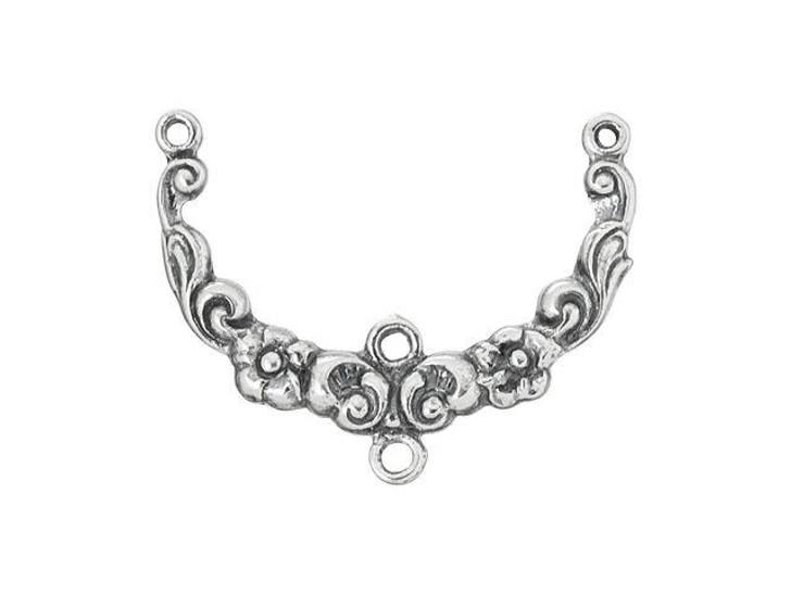Sterling Silver Floral Design Focal Link
