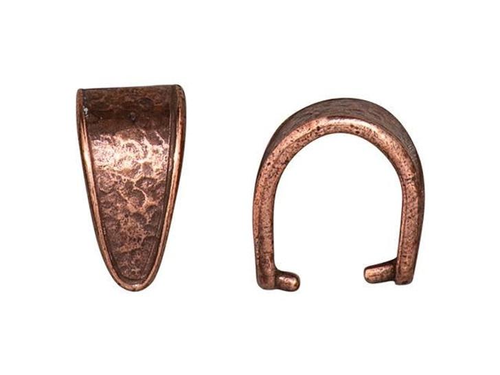 TierraCast Antique Copper-Plated Pewter Hammertone Pinch Bail-DUPLICATENAME