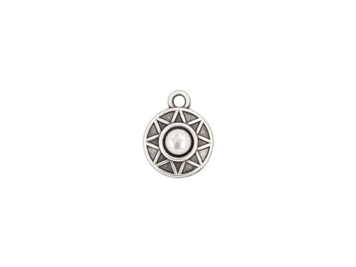 Antique Silver-Plated Round Ethnic Star Charm