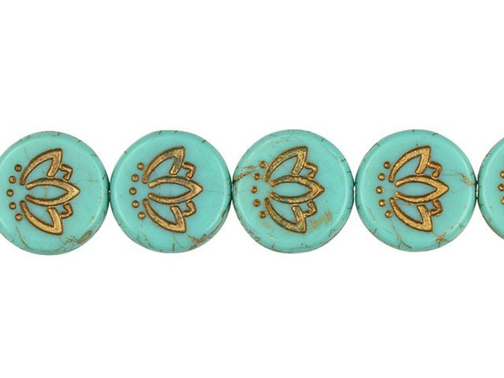 Czech Glass 14mm Lotus Flower Coin Matte Marbled Turquoise with Dark Bronze Wash Bead Strand by Raven's Journey
