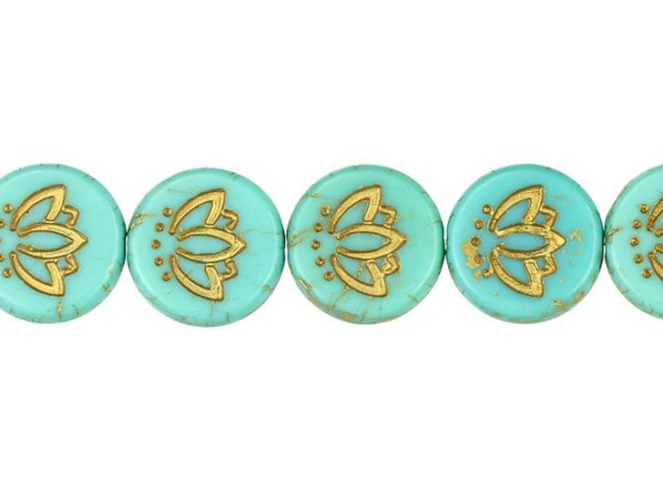 Czech Glass 14mm Lotus Flower Coin Matte Marbled Turquoise with Gold Wash Bead Strand by Raven's Journey