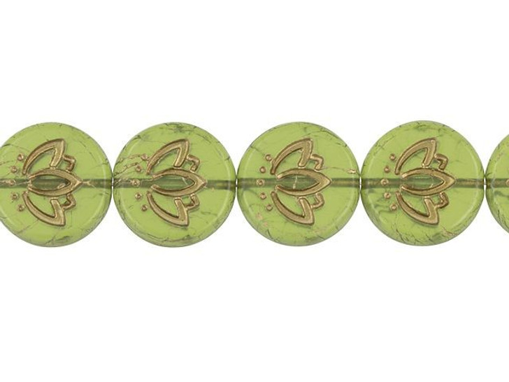 Czech Glass 14mm Lotus Flower Coin Matte Transparent Olive with Gold Wash Bead Strand by Raven's Journey