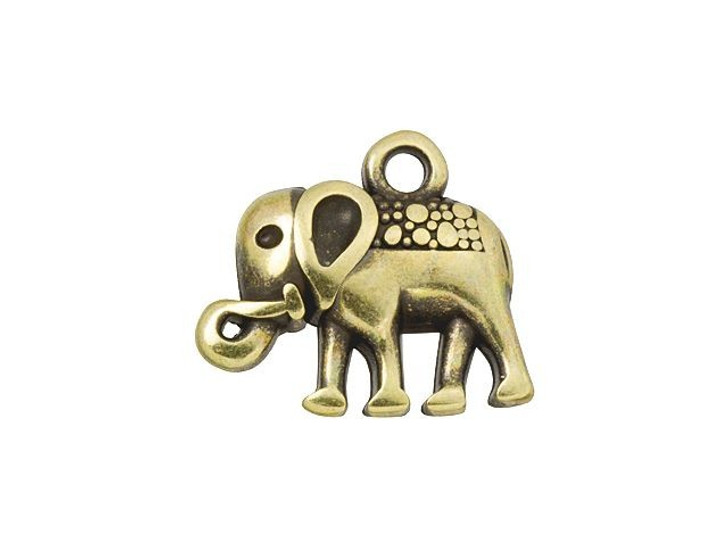 Antique Brass-Plated Tribal Elephant Charm