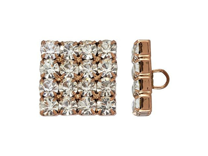 Antique Copper-Plated 18mm Crystal Rhinestone Square Button