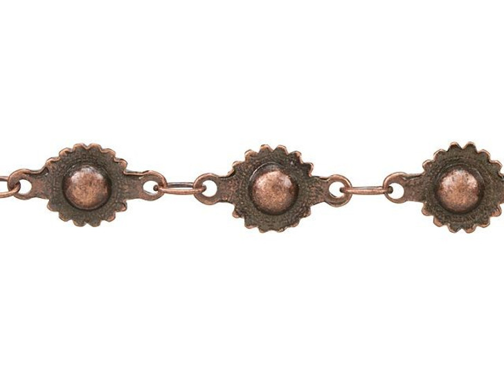 Antique Copper-Plated Brass Ball and Cog Chain by the Foot