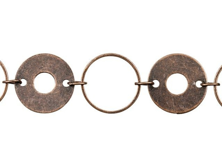 Antique Copper-Plated Brass Olympic Ring Chain by the Foot