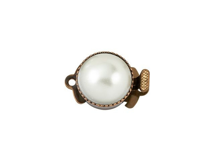Antique Copper-Plated Classic Crystal Pearl Round Rhinestone Clasp