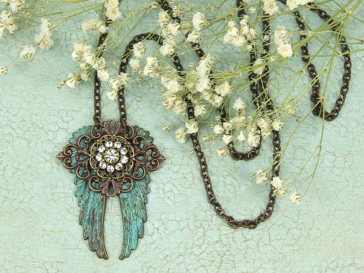 Filigree Flight - Patina Wings and Brass Filigree Layered Pendant Necklace