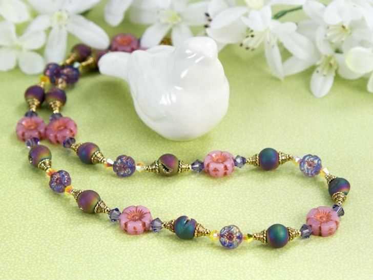 Flowers of the Sea - Czech Glass Flowers and Druzies Necklace