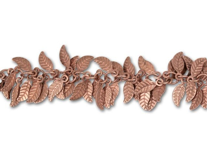 Antique Copper-Plated Leaf Chain by the Foot