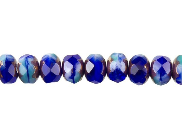 Czech Glass 9 x 6mm Cobalt, Turquoise, and White Opaque Mix with Bronze Finish Rondelle Bead Strand by Raven's Journey