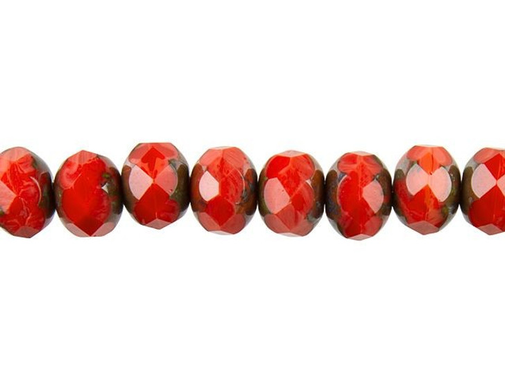 Czech Glass 9mm Coral with Picasso Roundel Bead Strand by Raven's Journey