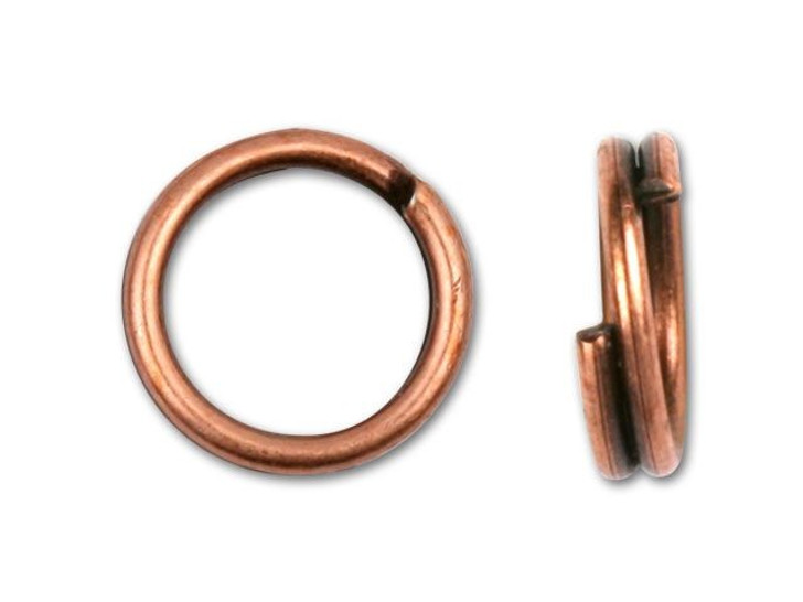 Antique Copper-Plated Split Ring 7mm