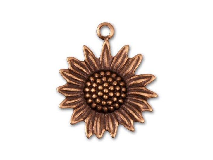 Antique Copper-Plated Sunflower Charm