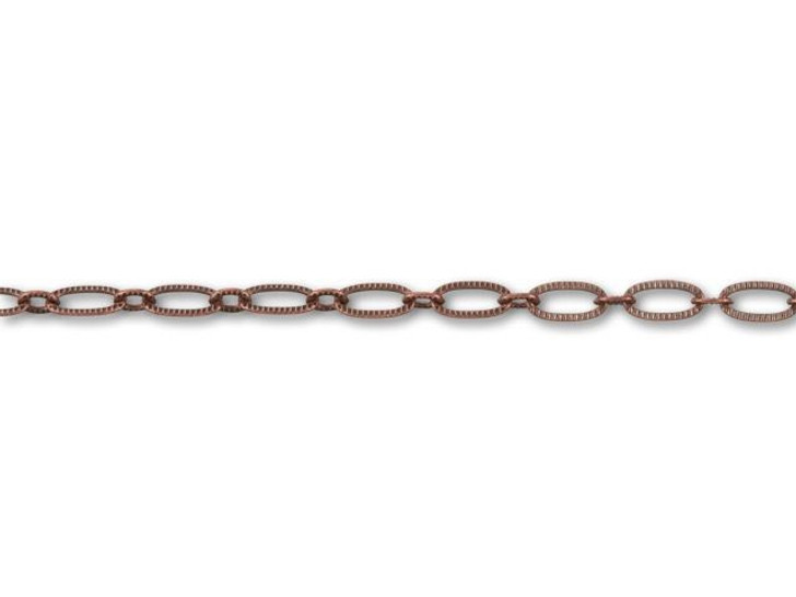Antique Copper-Plated Textured Oval Cable Chain by the Foot