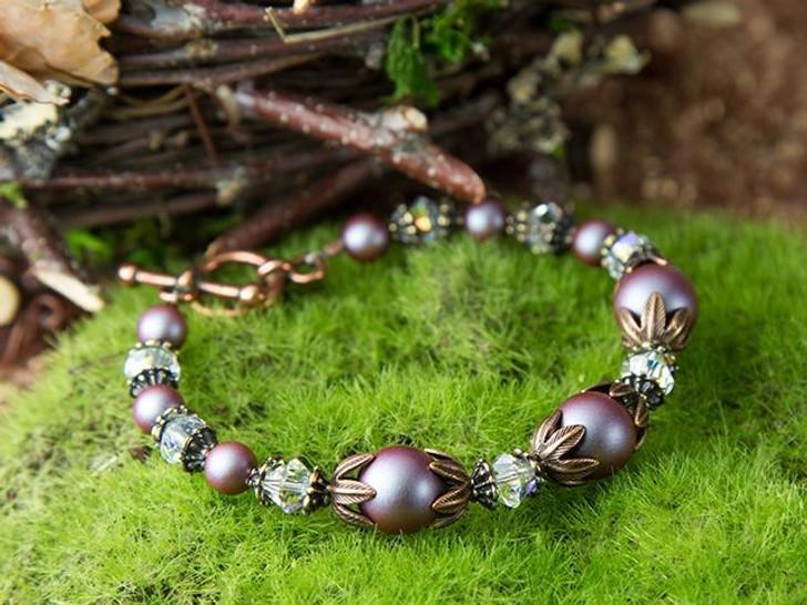 Kestrel's Nest - Swarovski Crystal Iridescent Red Pearl Bracelet