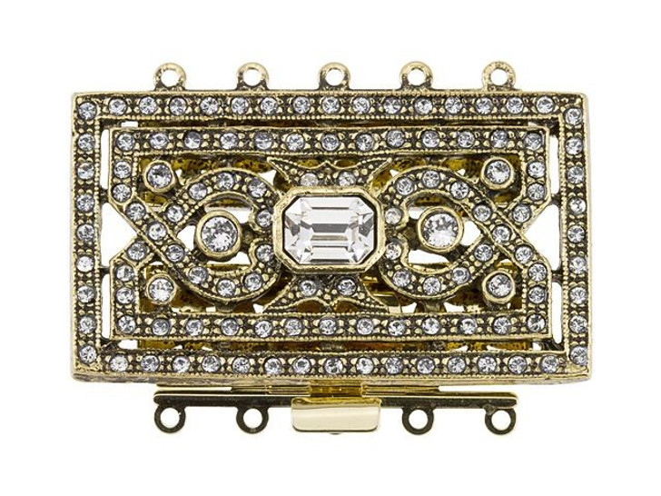 Antique Gold-Plated Extra Large Rectangle 5 Ring Clasp with Swarovski Crystals