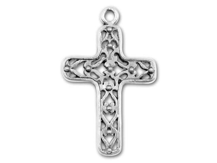 Antique Pewter Filigree Cross Charm