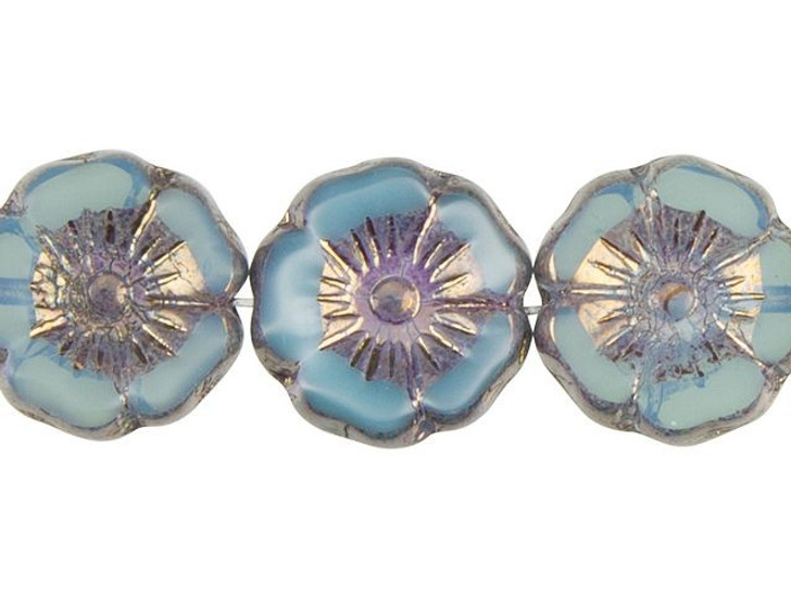 Czech Glass Hibiscus Flower 12mm Periwinkle with Bronze Wash by Raven's Journey